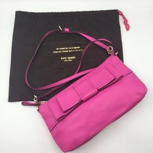 🌷 KATE SPADE Hot Pink LEATHER Crossbody BOW BAG
